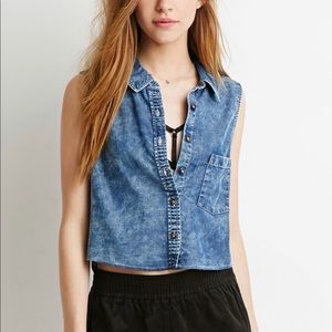 NWT FOREVER 21 MINERAL WASH DENIM CROP TOP S